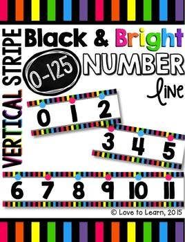 Number Line (0-125) - Bright & Black Vertical Stripes