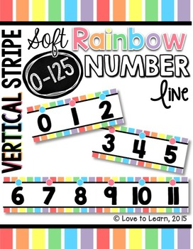 Number Line (0-125) - Soft Rainbow Vertical Stripes