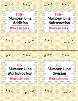 Number Line Worksheets Bundle - Addition, Subtraction, Mul