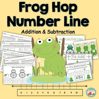 Number Line Addition & Subtraction Frog Hop K.OA.2  & 1.OA.6