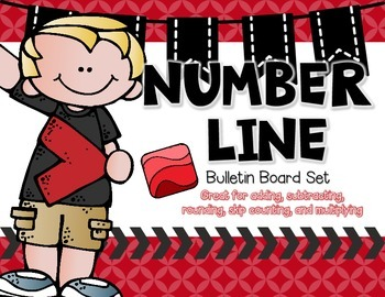 Number Line Bulletin Board with Red Accents