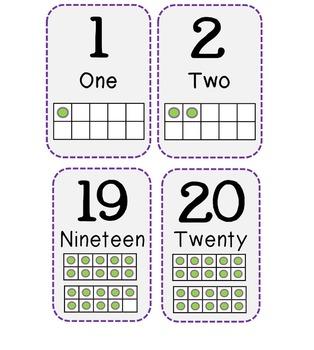 Number Line Cards 1-20