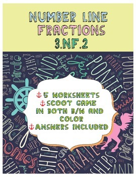 Number Line Fractions Worksheets & Scoot