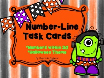 Number Line Task Cards (Halloween, Addition, Subtraction,