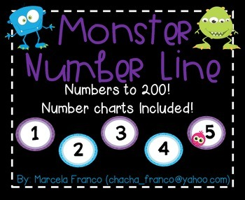 Number Line to 200 and Number Charts! Monster Theme