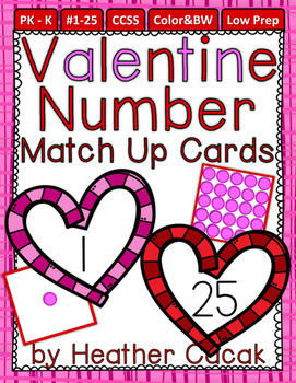 Number Match Up Cards One to One Correspondence VALENTINE
