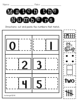 Number Matching Assessment 0-5