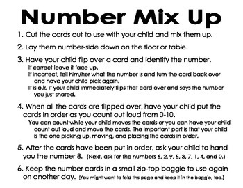 Number Mix Up Game - Identifying Numbers 0 - 10.