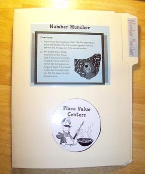 Number Muncher File Folder Math, Place Value Greater & Les
