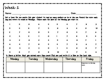 Number Naming Homework-10 Week Practice and Growth Set