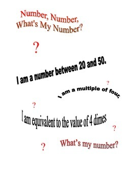 Number, Number, What's My Number?  Grade 3