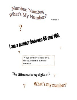 Number, Number, What's My Number? - Grade 5