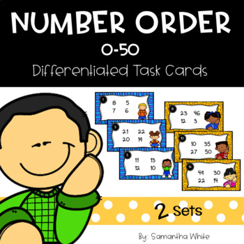 Number Order 0-50 Differentiated Task Cards