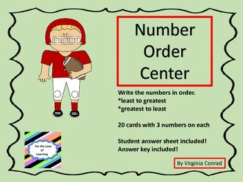 Number Order Center --  football theme