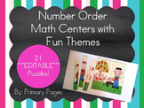 *EDITABLE* Number Order Math Centers (Color and Black & White!)