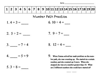 Number Path Practice with Addition