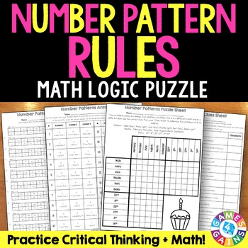 Number Patterns Activity: Number Pattern Rules Puzzle (5.OA.3)