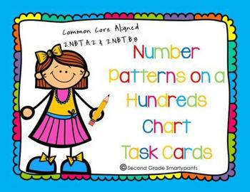 Number Patterns on a Hundreds Chart Task Cards
