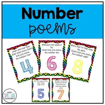 Number Poems Posters, Cards and Number Lines! (0-9)