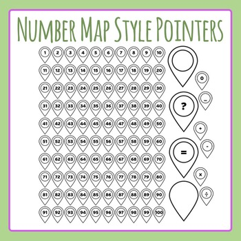 Number Pointers - Map Style for Number Lines Etc Clip Art