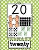 Number Poster 1-20 BRIGHT POLKA Dot: tally, dice, ten fram