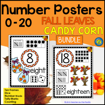Math Number Anchor Charts 0-10 + 11-20 ~ Fall Leaves + Hal