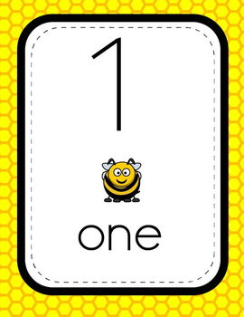 Bee Theme Number Posters 0 - 20