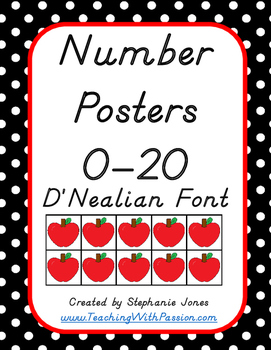 Number Posters 0-20 Black and White Polka Dot with Apples