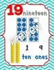 Number Posters 0-20 {Chevron} w/ Ten Frame, Base Ten