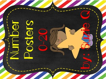 Number Posters 0-20 In Primary Colors