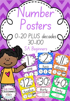 Number Posters 0-20 plus decades 30-100 SA Beginners - Rai