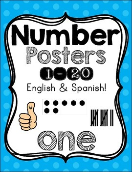 Number Posters {1-20!} English set & Spanish set!! ~ Blue