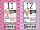 Number Posters 1-20 POLKA DOT: tally, dice, ten frame, counting
