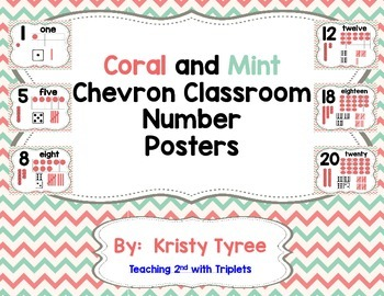 Number Posters (Coral and Mint Chevron) (Tally Marks, Tens