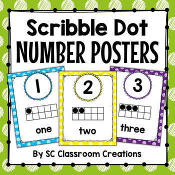 Polka Dot Number Posters (Scribble Dot)