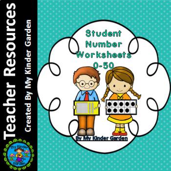 Number Posters Student Worksheets 0-50 (base ten, ten fram