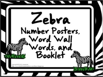 Number Posters, Word Wall Words, and Booklet - Zebra Print