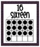 Number Posters - Zero through Twenty -  Black with Pink Po