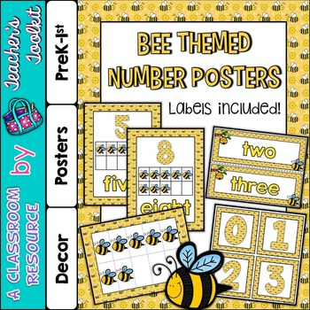 Number Posters and Labels Bees {UK Teaching Resource}