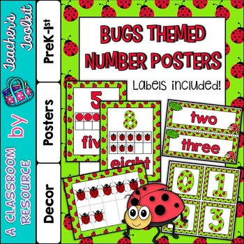 Number Posters and Labels Bugs {UK Teaching Resource}