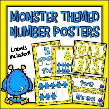 Monster Themed Number Posters and Labels Set