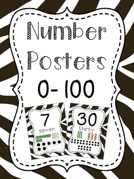 Number Posters to 100 (1-20 and all the tens) - Zebra Prin
