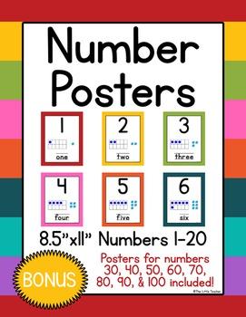 Number Posters 1-20 w/ Tens Frames & Base Ten Blocks-Brigh