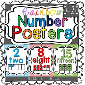 Number Posters with Ten Frames: 0-20 (Rainbow/Colorful)