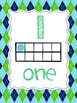 Ten Frame Number Posters {Lime Green and Turquoise Argyle}