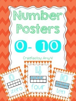 Ten Frame Number Posters {Orange and Turquoise}