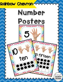 Number Posters with Ten Frames and Counting Hands- Chevron