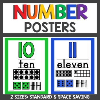 Number Posters with number line and pocket chart numbers