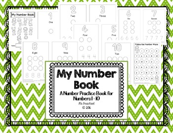 Number Practice Book for Numbers 1 - 10