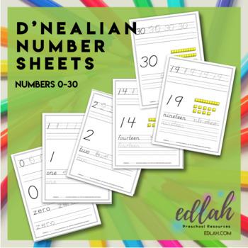 Number Practice Sheets - D'Nealian (0-30)